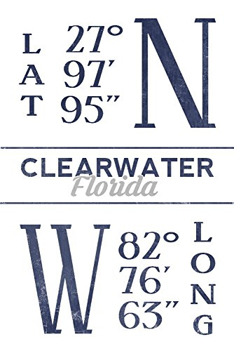 Clearwater  Florida   Latitude And Longitude  Blue   9X12 Collectible Art Print  Wall Decor Travel Poster
