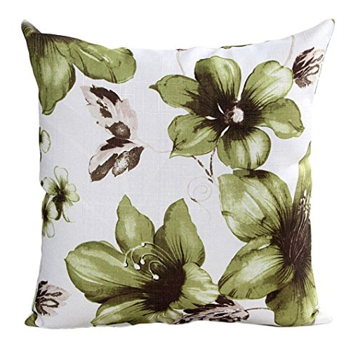 Price comparison product image Sinzelimin Elegant Throw Pillow Case Flowers Pattern Sofa Bed Home Decor Throw Cushion Cove 45cm45cm / 1818 inch (Green,  1818 inch)