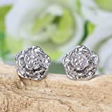 Fashion Women Fashion Jewelry Silver Plated Flower Ear Stud Earrings Nice Hot LOVE STORY
