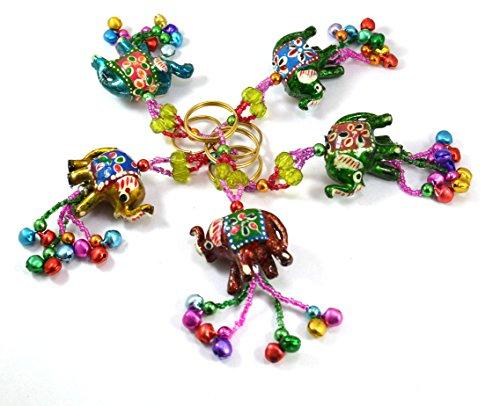 A Set of 5 Hand Carved Elephant Key Ring,keychain, Key Holder Keychain