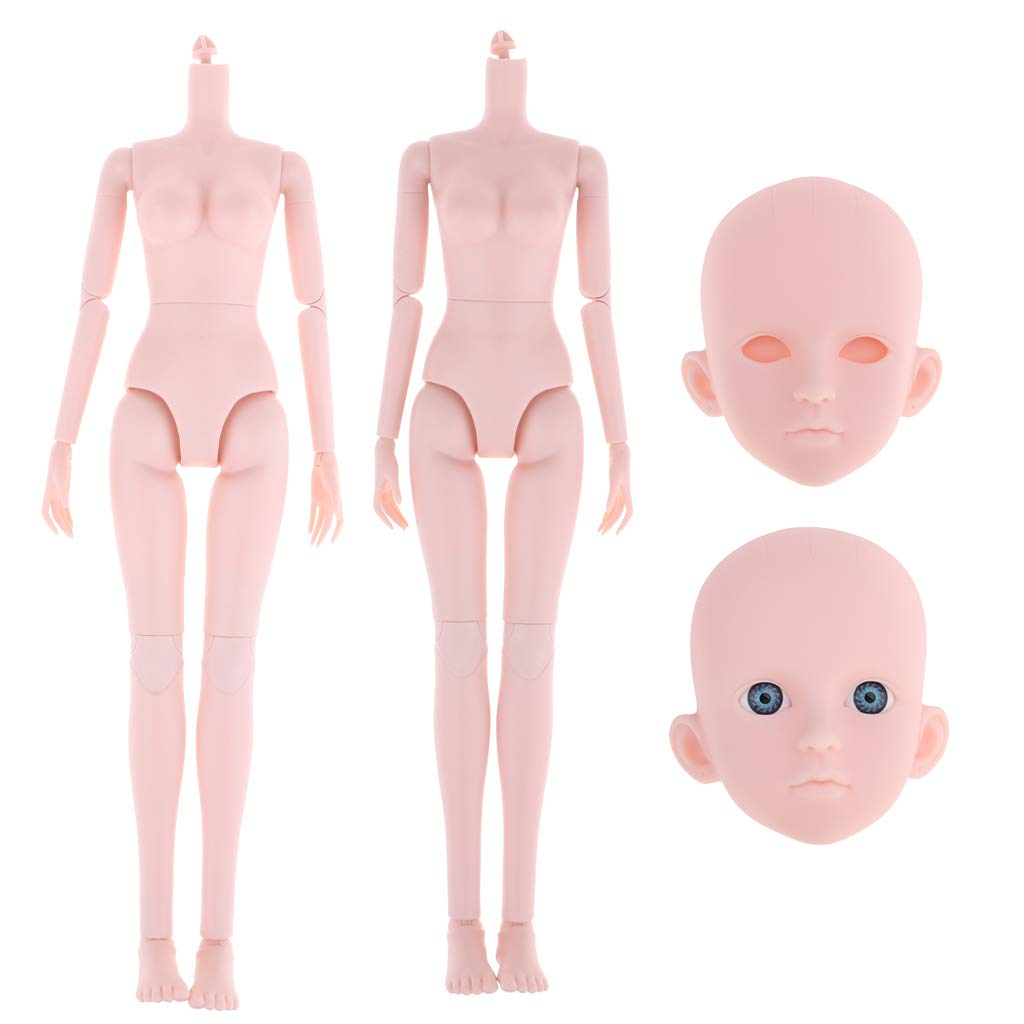 Toygogo 1/4Female BJD Body Head Large Chest Nude Doll for Ball Joint Doll Xinyi 2Pcs