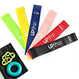 Resistance Loop Bands - Premium Set of 6 Mini Loop Bands with Strength Resistance Levels for Fitness, Yoga, Pilates, Training Exercises + Hand Strengthener Grip Ring Forearm Workout Exerciser + Elastic Finger Strength Stretcher + Travel Car