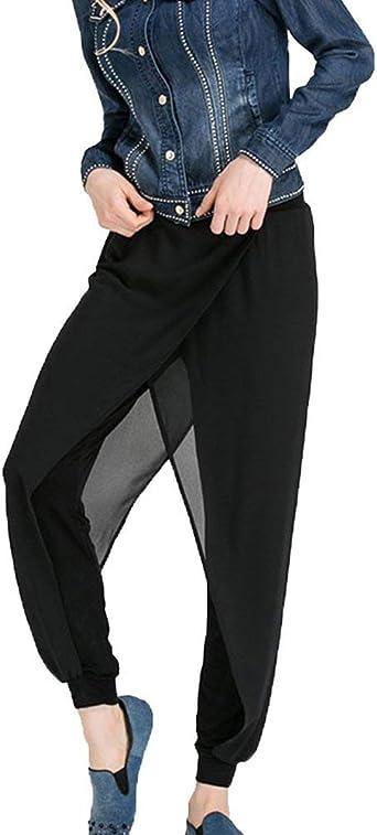 Pantalones Harem Mujer Respirable Aireado Chiffon Pantalones Verano Elegantes Moda Cintura Alta Anchas Basic Ropa Color Solido Pluderhose Pantalones De Tiempo Libre Pantalones De Las Mujeres Ropa Amazon Es Ropa Y Accesorios