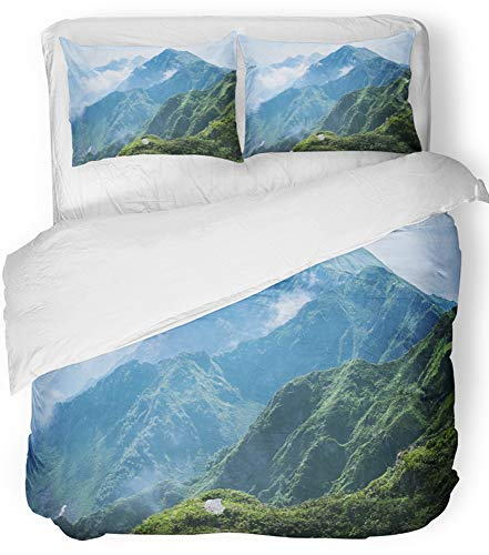 Emvency Bedsure Duvet Cover Set Closure Printed Decorative Landscape Mountain in Sochi Height Nature Clouds Greens Mists Post Ridge Breathable Bedding Set With 2 Pillow Shams Full/Queen Size