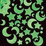 Lot de 120 Autocollants Phosphorescents - Motif Lune et Étoile - Idéal pour toute décoration créative -A utiliser dans le noir