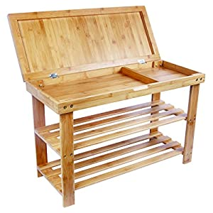 BAMBUROBA Shoe Rack Storage Bench Bamboo Organizer Entryway Organizing Shelf with Storage Drawer on Top