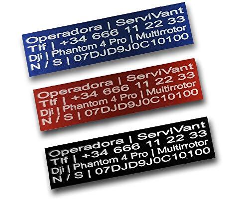 SERVIVANT ● Kit de 3 Placas Identificativas para Drones ● Placas para Dron OBLIGATORIAS según normativa AESA ● Tamaño…