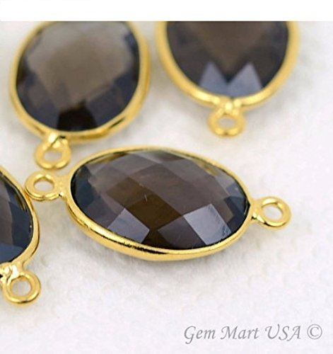 Smokey Topaz Bezel Connector 12X16mm Oval 24k Gold Plated Double Bail By GemMartUSA Double Bezel Earrings