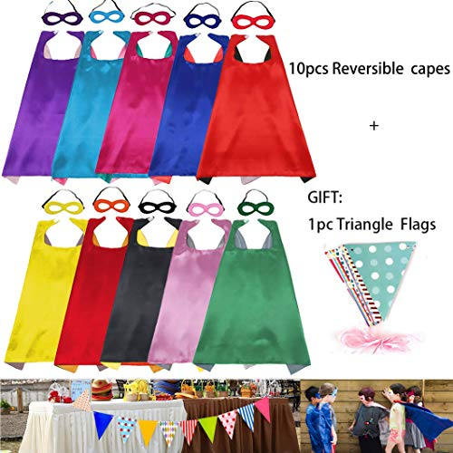RioRand Kids Cartoon Dress Up Capes and Masks Reversible Dual Color 10PCS with 1-Pack Pennant Banner Decoration for Boys Girls Birthday ,Theme Party Supplies (10p)]()