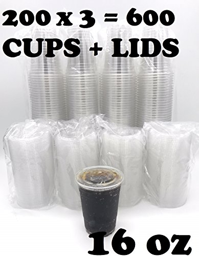 [600 SETS] Plastic Disposable Cups with Lids - Premium 16 oz (ounces) Crystal Clear PET for Cold Drinks Iced Coffee Tea Juices Smoothies Slushy Soda Cocktails Beer Kids Safe (16oz Cups + Flat Lids)