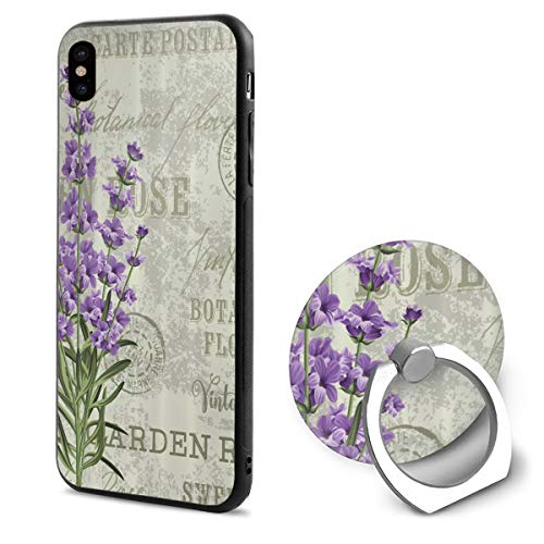 LeYue iPhone Xs/X Case, Lavender Post Stamps Slim Fit Liquid Silicone Gel Rubber Shockproof Case Soft Cover +Finger Ring Holder Stand Grip Mount Kickstand for iPhone X/XS 5.8 Inch ()