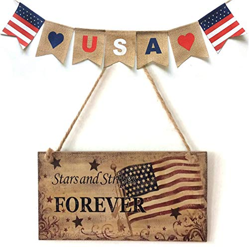Statue America - Benlet American 4th of July Independence Day God Bless America Wooden Plaque Sign Statues
