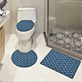 Quatrefoil 3 Piece Bathroom Contour Rugs Ethnic Arabian Tessellation Theme Entwined Curved Motifs of Marrakesh Tile Art Custom made Rug Set Blue White