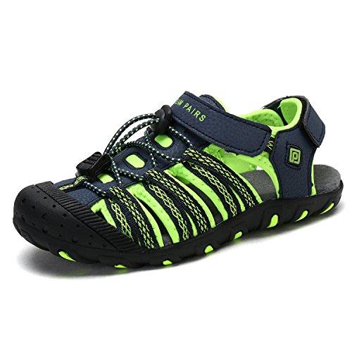 DREAM PAIRS Little Kid 171111-K Navy NEON Green Outdoor Summer Sandals Size 1 M US Little Kid