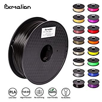 Pxmalion PLA 3D Filament, Black, 1.75mm, Accuracy +/- 0.03mm, Net Weight 1KG(2.2LB), Compatible with most 3D Printer & 3D Printing Pen