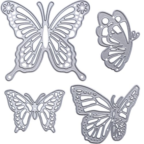 Gejoy 4 Pieces Butterfly Set Cutting Dies Metal Butterfly Die Embossing Stencils for Thanksgiving Christmas Card Paper DIY Craft Decoration -