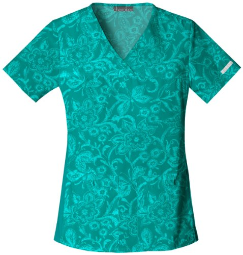 Cherokee 1705C Women's Flexibles Cotton V-Neck Scrub Top Scribbles And Butterflies Large ()