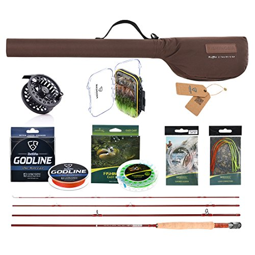 FISHINGSIR Fly Combo Kit: Fly Fishing Rod,Fast Action Fly Reel, Braided Fishing Line,Fly Fishing Line leader Connector,64PCS Fly Fishing Flie 6wt Rods