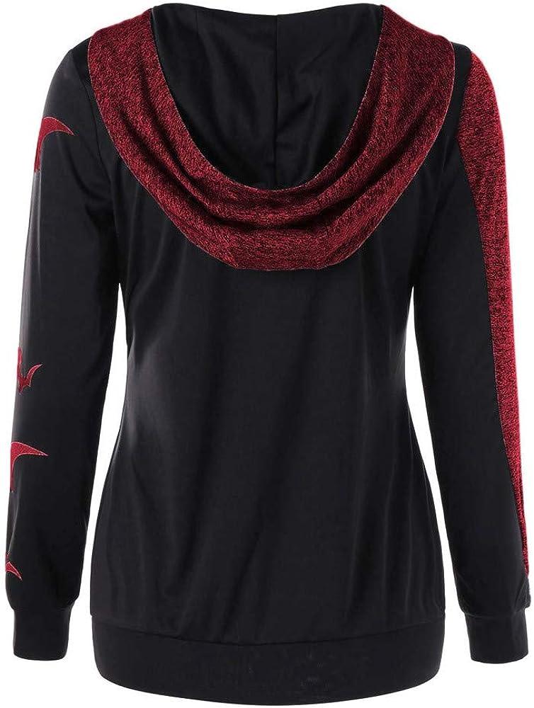 RedBrowm Women Halloween Top Party Bats Print Hooded Pullover Trend Sweatshirt