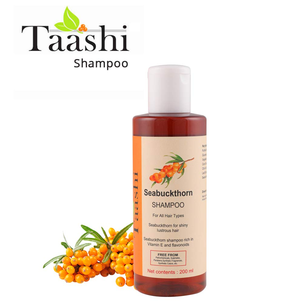 Taashi Seabuckthorn Shampoo - 200 ml, Fights Dandruff, Promotes Hair Growth, Nourishes Hair & Scalp, Suitable for dry hair, oily hair, for silky hair, for men & Women, PARABEN FREE, Sulphate Free by Taashi