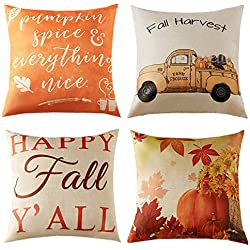 Anickal Set of 4 Fall Pillow Covers Autumn Theme Farmhouse Decorative Throw Pillow Covers 18 x 18 Inch for Fall Decorations
