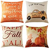 Anickal Set of 4 Fall Pillow Covers Autumn Theme Farmhouse Decorative Throw Pillow Covers 18 x 18 Inch Thanksgiving Home Decoration