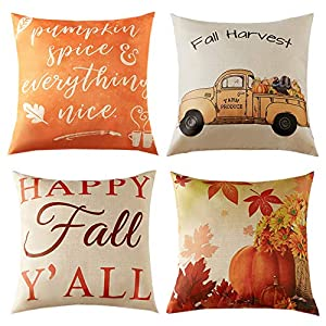 Anickal Set of 4 Thanksgiving Pillow Covers Fall Harvest Theme Farmhouse Decorative Throw Pillow Covers 18×18 Inch for Home Couch Sofa Decorations