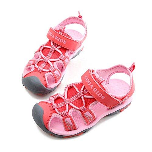 Juleya Verano al aire libre Velcro Sandalias Cerrado Toe plana zapatos de playa para los chicos unisex Rosado
