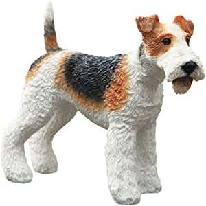 Fox Terrier Dog Statue, Small Simulation Animal Model Home Garden Vivid Art Decoration Craft Collection 62.55In