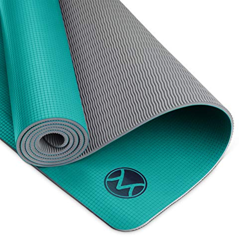 Youphoria Yoga Yoga Mat 24 x 72-6mm - Lightweight & Absorbent Non Slip Yoga Mats for Hot Yoga, Home or Travel - Premi-OM Yoga Mat in Jade Green