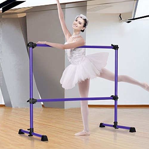 let Barre Freestanding for Dancing Stretching Ballet Workout Exercise Equipment Easy Assembly Sturdy & Stable Construction Double Dance Bar (Purple) ()