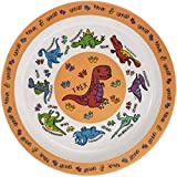 Orange Dinosaur Melamine Plastic Childrens Dinner Plate 21cm