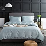 Natural Washed Duvet Cover Set, Ultra Soft and Easy Care, Fade Resistant, Light Blue King
