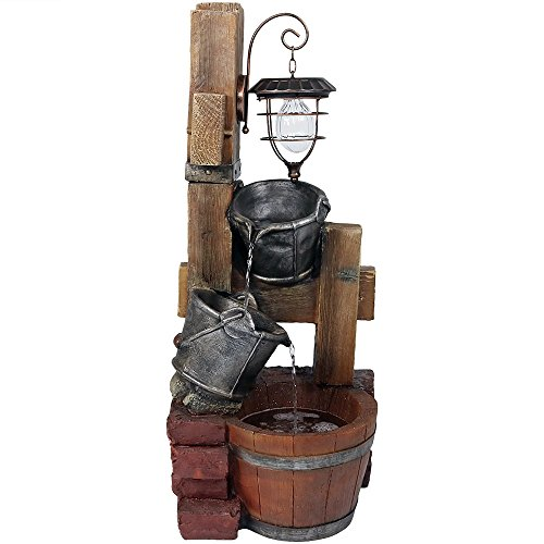 - Sunnydaze Rustic Pouring Buckets Outdoor Water Fountain with Solar Lantern, 34 Inch Tall