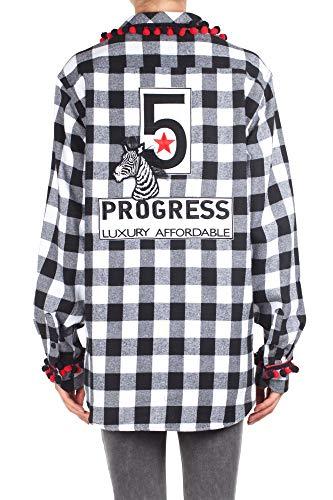 Femme Blanc 5 B 56 Progress Blanc Chemise Shirt Noir Noir Couleur Zebra ypEpfc