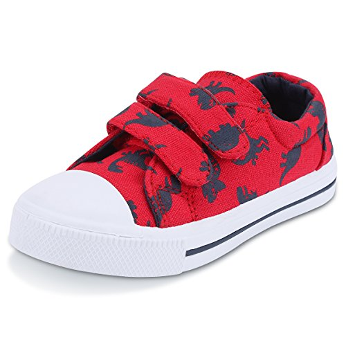 KomForme SGR006-9M Toddler Sneakers for Boys and Girls Cartoon Dual Hook and Loops Sneakers Baby Canvas Shoes Red