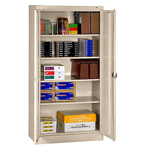 """Tennsco Storage Cabinet With Recessed Handle - 36""""Wx18""""Dx72""""H - Unassembled - Putty - Putty"""
