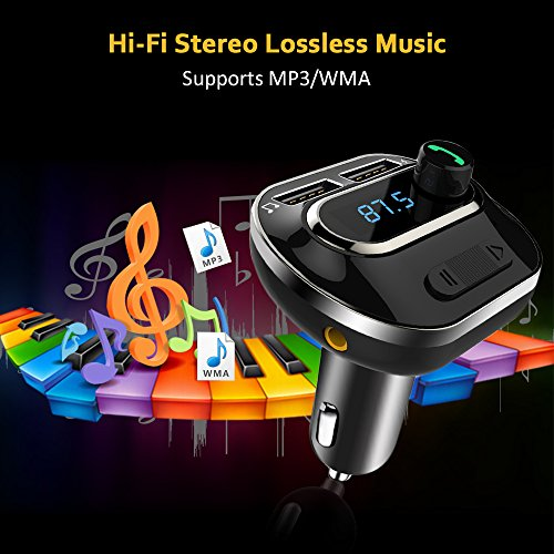 FM Transmitter, Bcway Wireless Radio Adapter Bluetooth Car Kit MP3 Player, 5V/3.1A Dual USB Ports Car Charger, Support TF Card + U Disk, Hands Free Calling for iPhone, Samsung, etc by AYY (Image #8)