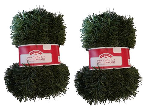 (50 Foot Non-Lit Green Holiday Soft Garland, Multipack of 2 (100 ft total))