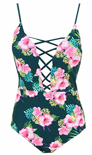 Bra Carnival Padded (One Pieces Solid Floral Pin up Sexy Women Front Strappy Cross Swimwear-KJQ999-GRF2)