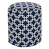 Majestic Home Goods Navy Blue Links Indoor/Outdoor Bean Bag Ottoman Pouf 16'' L x 16'' W x 17'' H