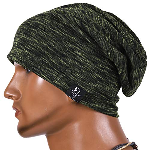 JESSE · RENA Men's Chic Striped Thin Baggy Slouch Summer Beanie Skull Cap Hat (Green) ()