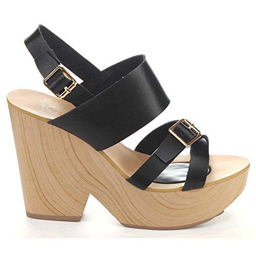 BLACK Tara Bella Heel 5 6 Criss Faux Womens Slingback Marie Chunky Wood Cross Sandals 1 Cqwn57HqF
