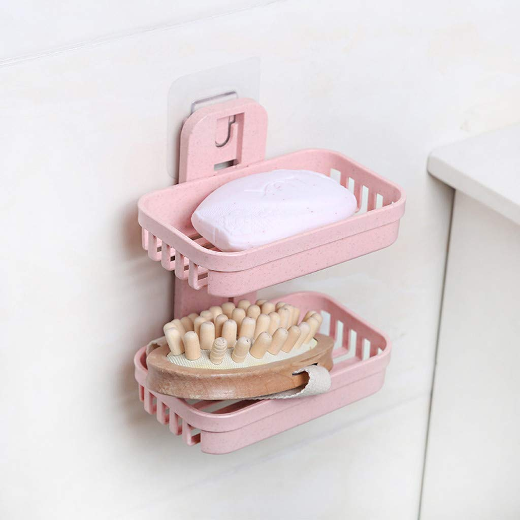 LtrottedJ Soap Storage Bathroom Shower Soap Box Dish Storage Plate Tray Holder Case Soap Holder Double (Pink)