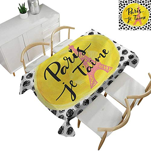 Paris,Rectangular Table Cover,Eiffel Tower with Paris I Love You Message Polka Dot Background Vintage Art,Tablecloth for Rectangle Table 54