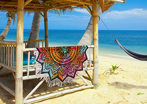 Madhu International Tie Dye Cotton White Black Mandala Round With Tassel, Beach Throw, Yoga Mat, Table Cover, Picnic Mat, Roundies