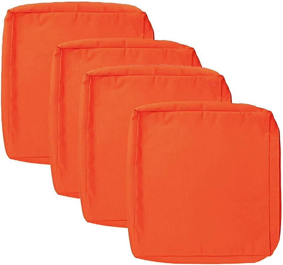 Sqodok 4 Pack Patio Replacement Cushion Covers 20x18x4, Outdoor Seat Cushion Cover Replacement Only, Furniture Chair Pads Cover Washable Cushion Pillow Seat Covers, Orange