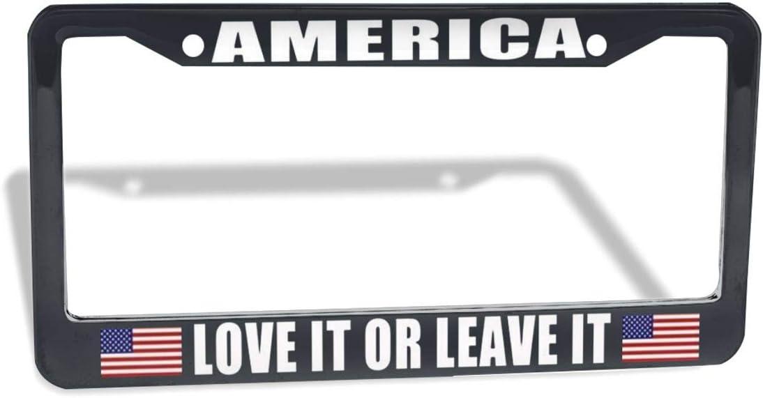 Elvira Jasper Car Plate Frame America Love It Or Leave It USA Flag Steel Metal License Plate Frame