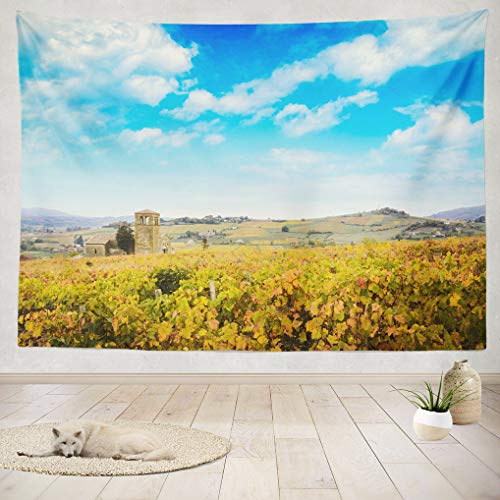 (ASOCO Tapestry Wall Handing Landscape Colors Fall Autumn Nouveau Village Burgundy Dusk Europe Fall Wall Tapestry Bedroom Living Room Tablecloth Dorm 60X80 Inches)