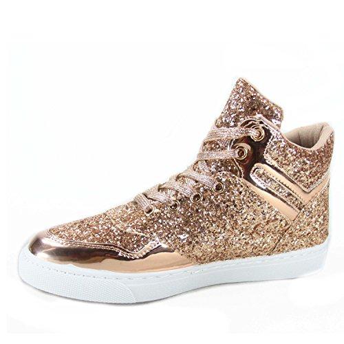 Alltid Knytte Sparkle-26 Womens Fashion Glitter Høy Topp Snøre Opp Sneaker Sko Rose Gull